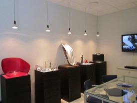 ML Engraving Showroom: the chair for Calligaris, the FabFork, the mould for the Acerbis saddle and a steel coaster for the Dressed collection of Alessi